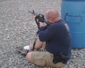 Brice showing his military training with the AR-15