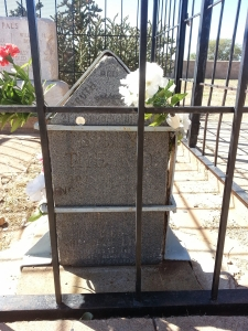 Warner Bros. used a Billy The Kid grave marker as a prop in the movie The Outlaw. James N. Warner of Salida, Colorado, donated this marker to the cemetery when it was no longer required for the movie.[139] This individual grave marker was placed as a footstone with a pointed top