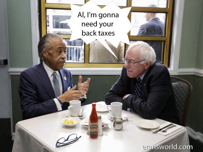 Bernie Sanders Asks Al Sharpton for his back taxes